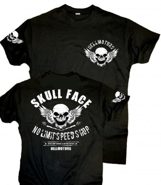 Herren Biker T-Shirt Skull Face