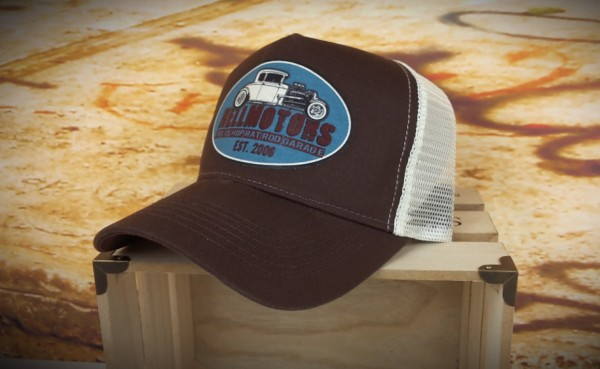 """HELLMOTORS Trucker CAP """"Hotrod Shop"""" Blau"""
