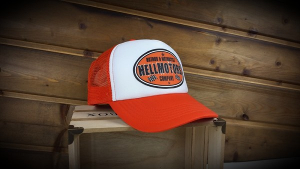 "HELLMOTORS TRUCKER CAP ""HotRod & Motorcycle"" Orange"