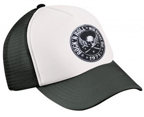 Trucker Cap Rock n Roll Schwarz-weiß