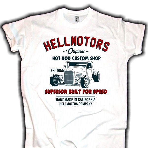 "Herren T-Shirt HOT ROD ""CUSTOM SHOP"" weiss"
