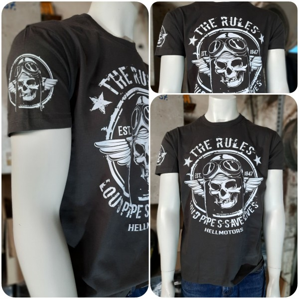 Biker Herren T-Shirt Old School Biker Rules-grau