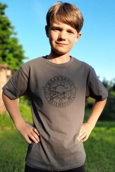Kinder T-Shirt Roadskull Druck schwarz