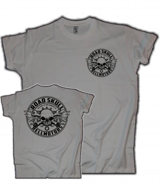 Herren T-Shirt Road Skull hellgrau