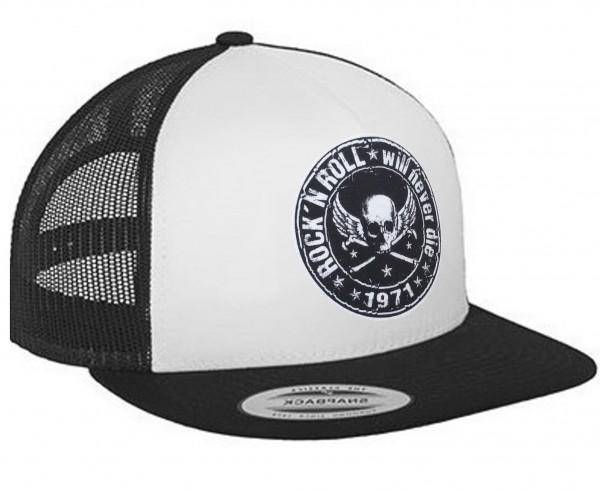 """HELLMOTORS SNAPBACK CAP """"Rock n Roll"""" Schwarz-Weiss"""