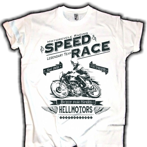 "Herren T-Shirt BIKER-STYLE ""SPEED RACE"" weiss"