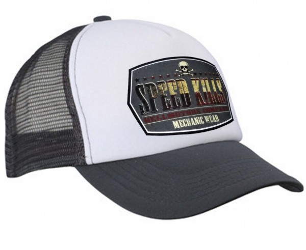 "HELLMOTORS TRUCKER CAP ""Speed Kills"" grau/weiß"