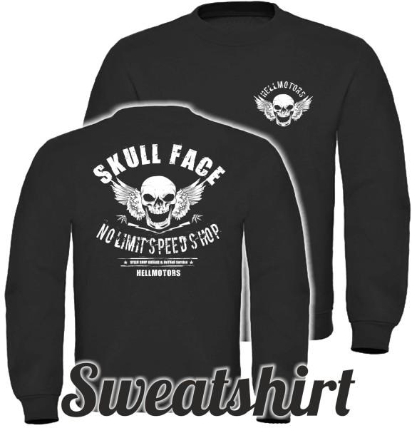 Herren Sweatshirt Skull Face beidseitig bedruckt