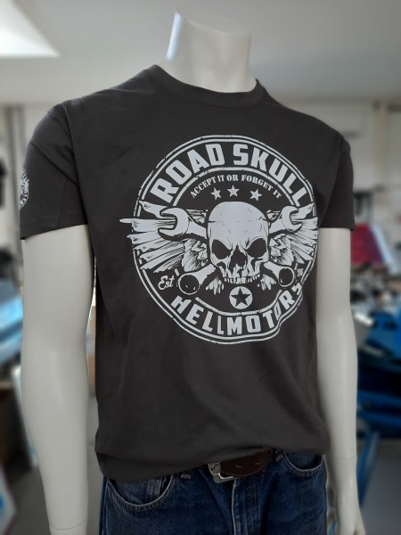 Herren Biker T-Shirt Road Skull dunkelgrau
