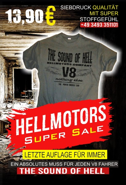 Herren V8 T-Shirt SOUND OF HELL grau