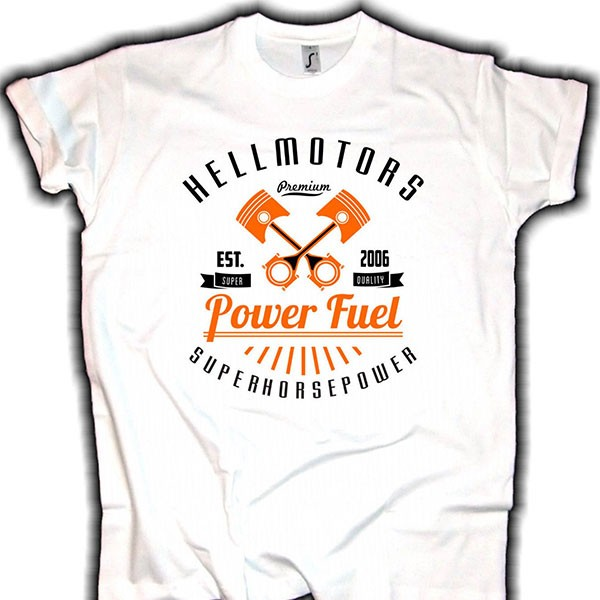 "Herren T-Shirt HOT ROD ""POWER FUEL"" weiss"
