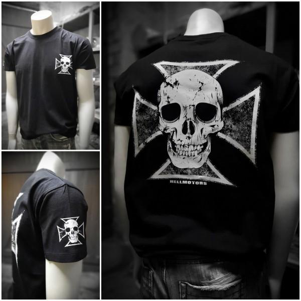 Herren Biker T-Shirt Skull Cross