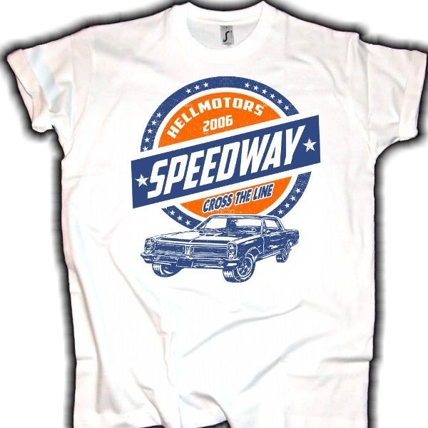 "Herren V8 T-Shirt ""PONTIAC SPEEDWAY"" weiss"