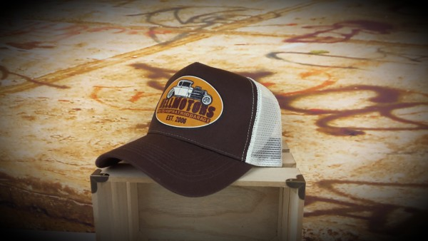 "HELLMOTORS Trucker CAP ""Hotrod Shop"" Gold"