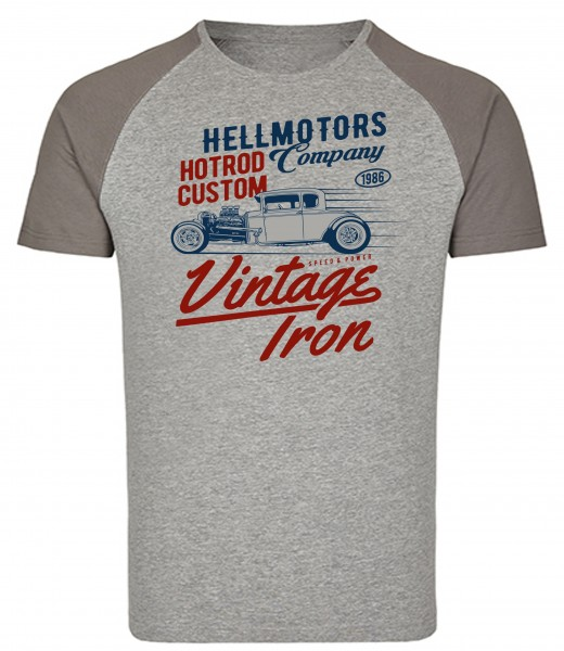 Herren Hot Rod Baseball T-Shirt Vintage Iron