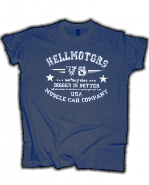 "Herren V8 T-Shirt ""bigger is better"" denim"