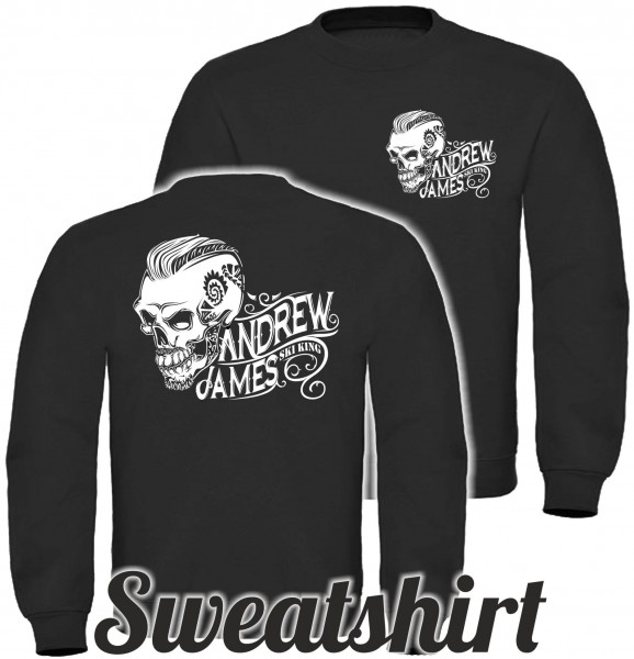 Andrew James Ski King Tattooed Skull Männer Sweatshirt beidseitig bedruckt