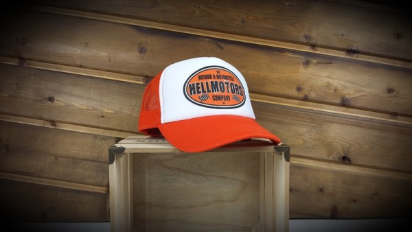 "HELLMOTORS KINDER CAP ""Hotrod & Motorcycle"" Orange"