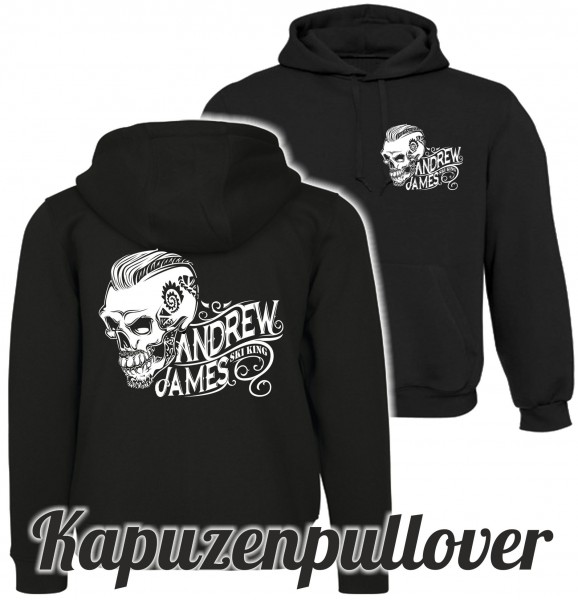 Andrew James Ski King Tattooed Skull Männer Hoodie beidseitig bedruckt