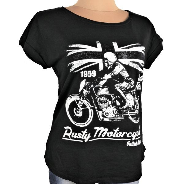 "Girly T-Shirt Biker Style ""Rusty"" schwarz"