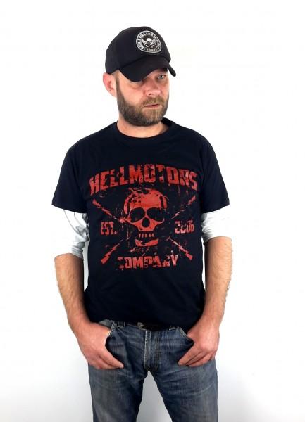 Herren Biker T-Shirt Red Skull