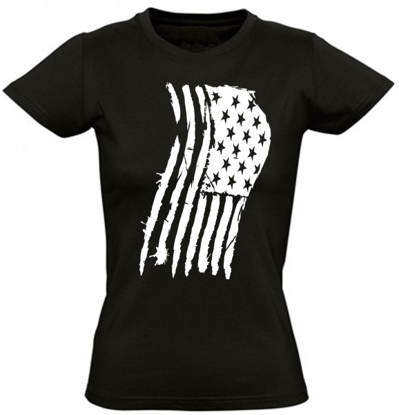 "Girly T-Shirt ""USA Flagge""-schwarz"