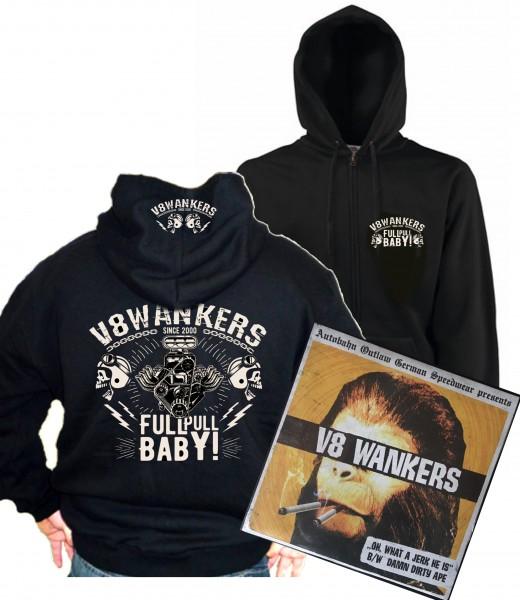 """V8 Wankers Kapuzenjacke Full Pull Baby inkl. 7"""" Vinyl Single"""
