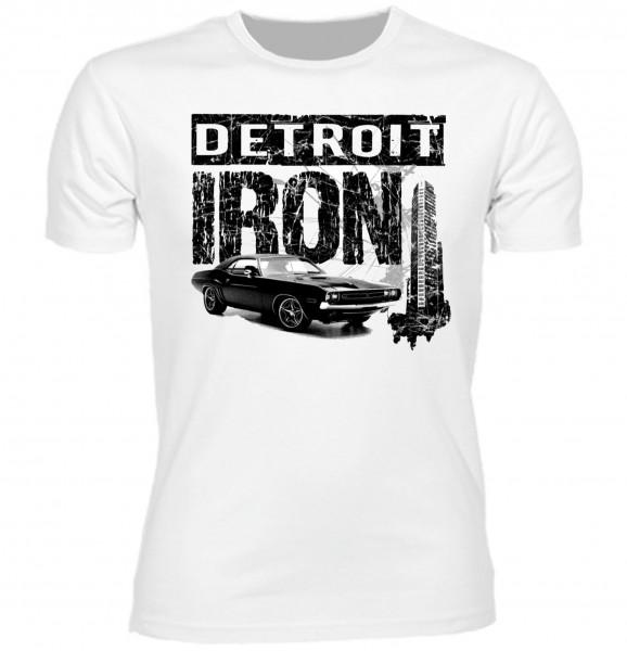 """Herren T-Shirt US Car Style """"Detroit Iron"""" schwarz-weiß"""