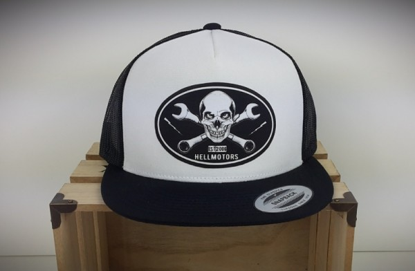 "HELLMOTORS SNAPBACK CAP ""Skull Wrench"" Schwarz-Weiss"