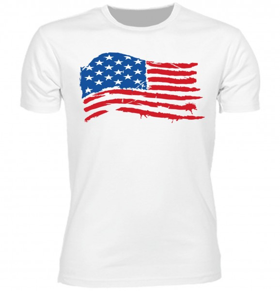 "Herren Old School T-Shirt ""USA Flagge"" weiß"