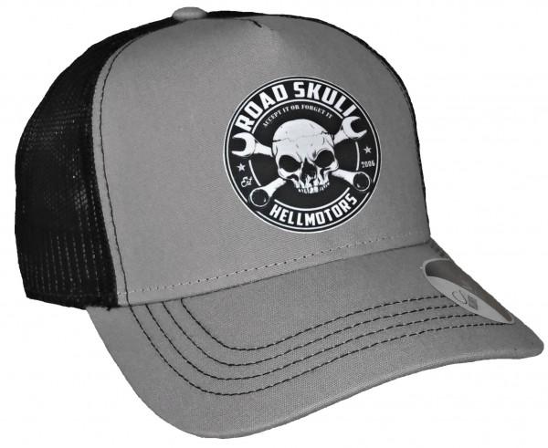 Trucker Cap - Road Skull - Canvas Grau/Schwarz
