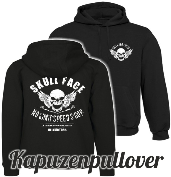 Herren Kapuzenpullover Skull Face beidseitig