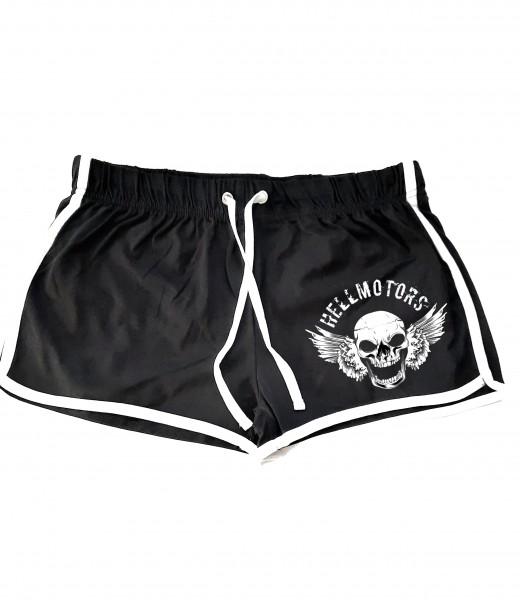 Frauen T-Shirt Retro Shorts Skull Face schwarz-weiss