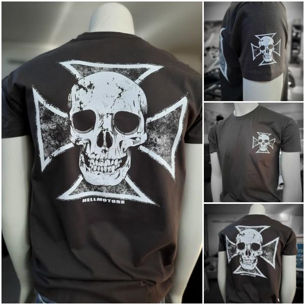 Herren Biker T-Shirt Skull Cross-Grau