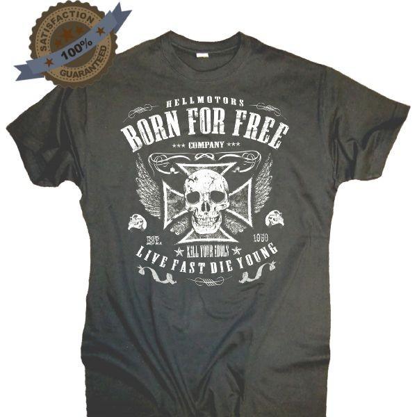 "Herren T-Shirt BIKER-STYLE ""Born Free "" antrazit"