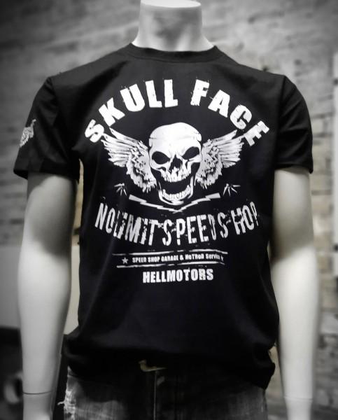 Herren Biker T-Shirt Skull Face vorn