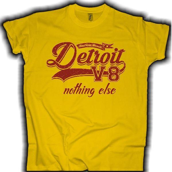 """Herren T-Shirt V8 Style """"Detroit V8"""" gelb"""