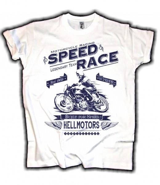 """Herren T-Shirt BIKER-STYLE """"SPEED RACE"""" weiss"""
