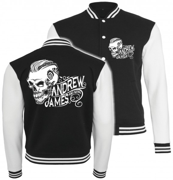 College Jacke Andrew James Ski King Tatooed Skull
