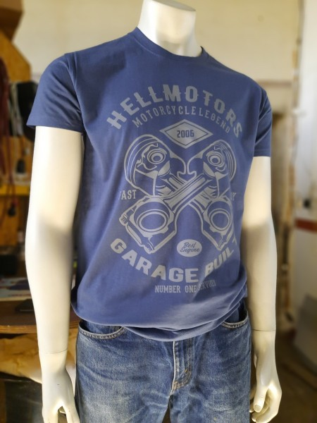Herren Biker T-Shirt Garage Built Denim blau