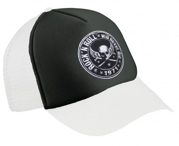 Trucker Cap Rock n Roll Weiß-Schwarz