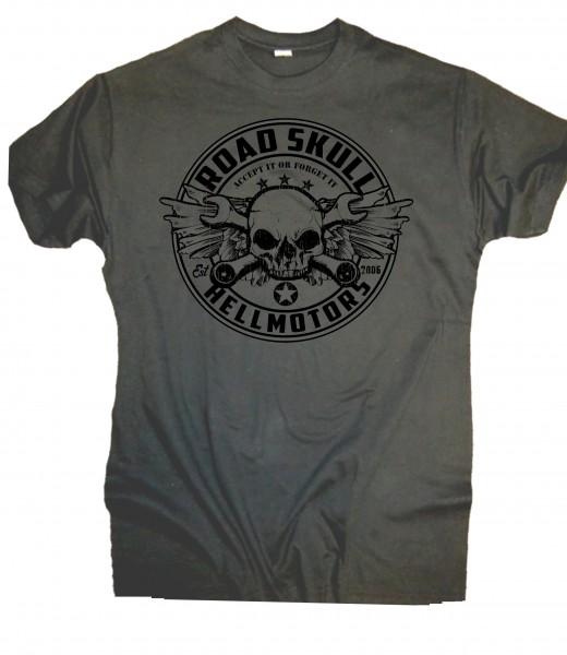 Herren T-Shirt Old School Raodskull Grau