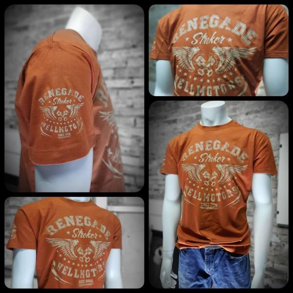 Herren Old School Biker T-Shirt Renegade-Rotbraun
