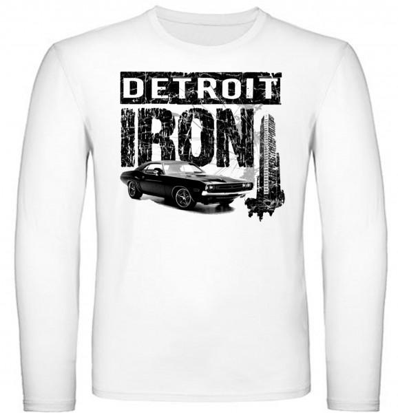 """Herren Longsleeve """"Detroit Iron"""" weiß"""