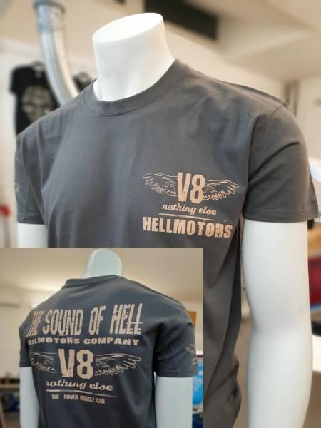 US CAR V8 T-Shirt SOUND OF HELL Dark Grey