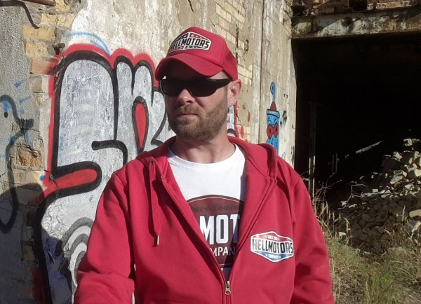 "Herren Kapuzenjacke ""Hellmotors Logo""- Hoodie Zipper-Rot"