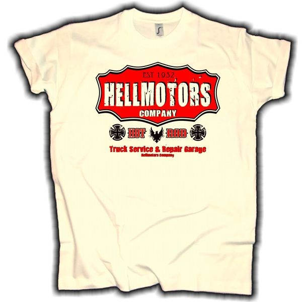 "Herren T-Shirt HOT ROD ""Hellmotors Company"" creme"