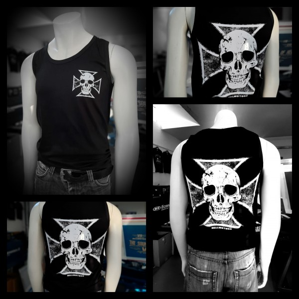 Herren Biker Tank Top Skull Cross