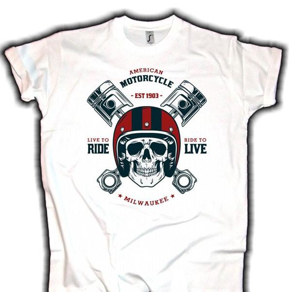 "Herren T-Shirt BIKER-STYLE ""Milwaukee Biker"" weiss"