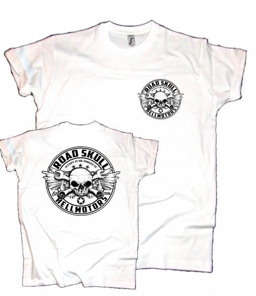 Herren T-Shirt Road Skull weiss